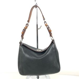 Coach pebbled leather hobo bag with turn lock